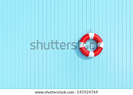red lifebuoy on a blue wooden plank wall, summer concept, background - stock photo