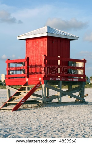 Red Lifeguard Shack in Sand Key Park near Clearwater Florida - stock photo
