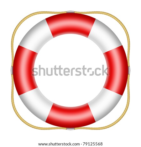 Red lifesaver buoy isolated on white background
