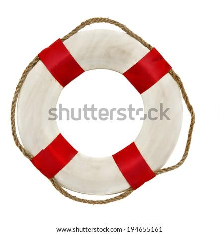 Red lifesaver lifebuoy life belt isolated on white background - stock photo