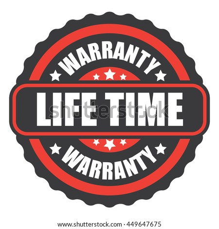 red lifetime warranty icon on white background