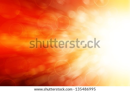 red light and circles abstract background - stock photo