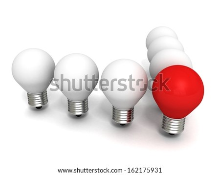 red light bulb concept leader of team white crowd