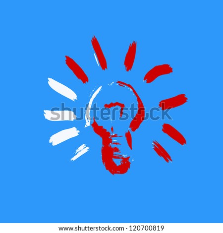 red light bulb icon - stock photo