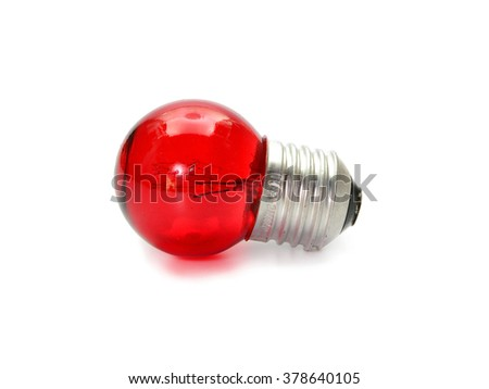 red light bulb isolated on white background
