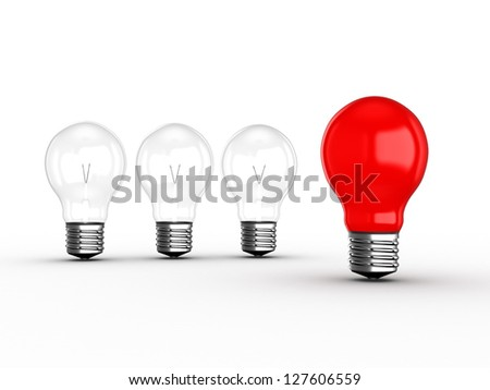 Red light bulb lamp leadership concept among transparent lamps, isolated on white background. - stock photo