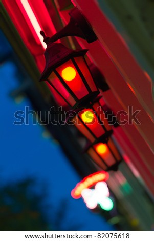 Red light district by night in Amsterdam the Netherlands - stock photo