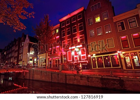 Red Light District in Amsterdam the Netherlands - stock photo