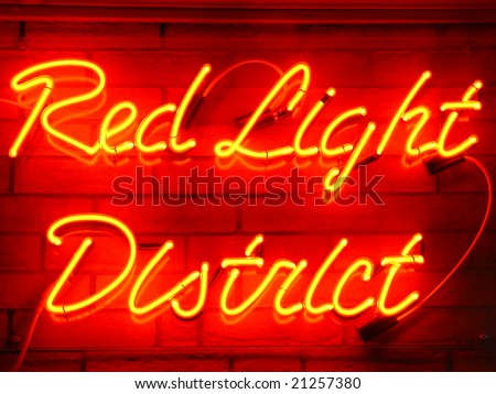Red light district neon sign - stock photo