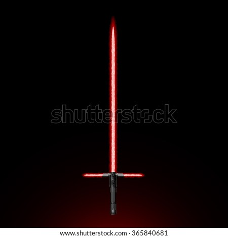 Red Light Energy Sword - Futuristic Weapon. On Black Gradient Background.