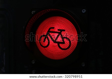Red light for bicycle lane as a traffic light - stock photo
