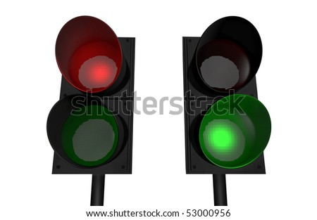 Red light, green light; 3D rendered image