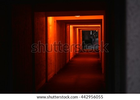 red light tunnel - stock photo