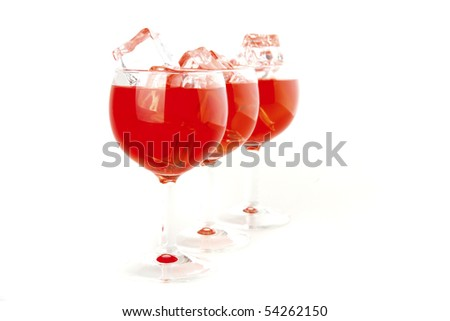 red light wine goblet on white background - stock photo