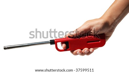 red lighter in hand on a white background - stock photo