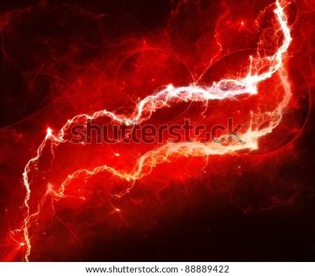 Red lightning - stock photo