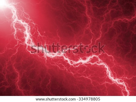 Red lightning - abstract electrical background - stock photo