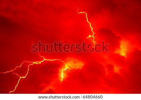 red lightning and clouds  background - stock photo