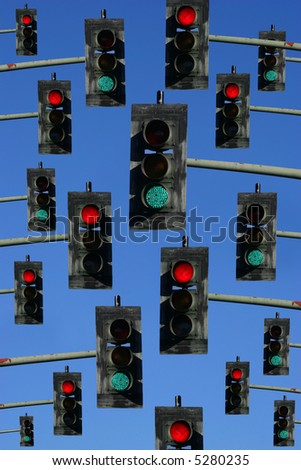 red lights and green lights on a sky blue background - stock photo