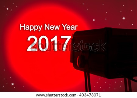 Red lightspot for stage with text Happy new year 2017 3D illustration - stock photo