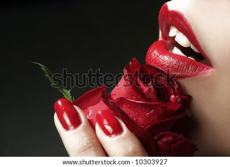 red lips and red rose - stock photo