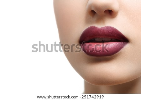 red lips close up on a white background - stock photo