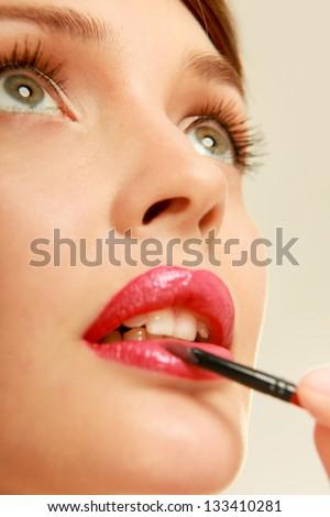 Red lips, closeup - stock photo