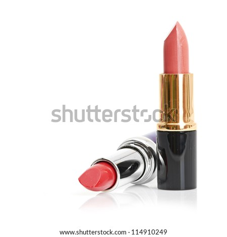 Red lipstick and nail polish - stock photo