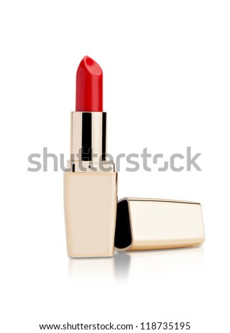 red lipstick isolated - stock photo