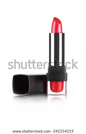 red lipstick isolated in white - stock photo