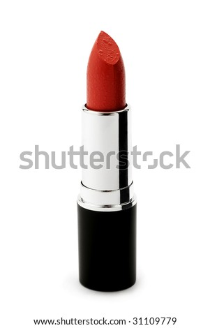 Red lipstick isolated on white - stock photo