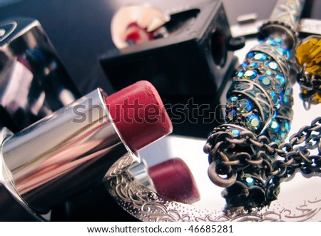Red Lipstick on Mirror - stock photo
