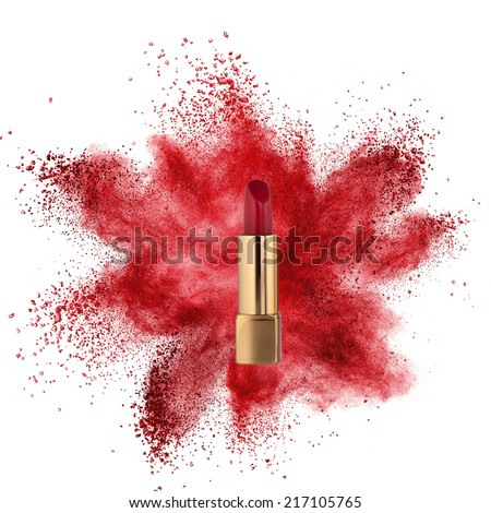 Red lipstick with powder explosion isolated on white background - stock photo