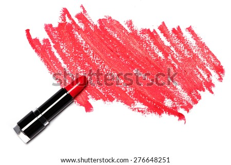 Red lipstick with trace on white background - stock photo