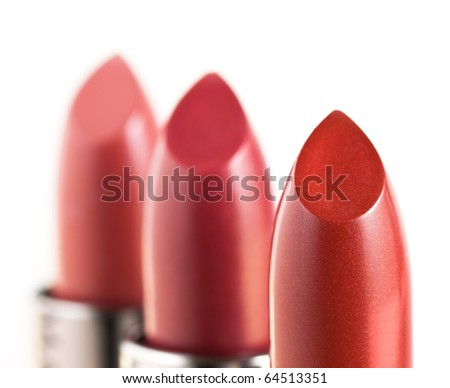 Red lipstics isolated on white