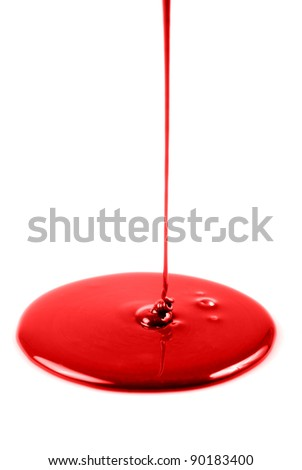 Red liquid flowing isolated on white