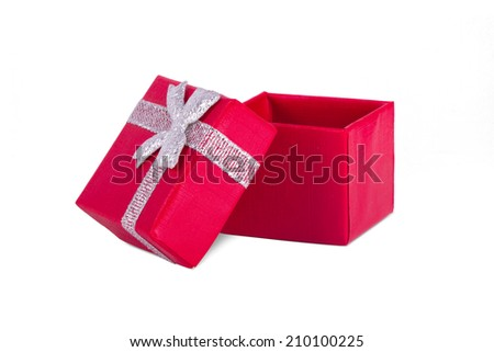 Red little open gift box with ribbon ornament, isolated on white background. - stock photo