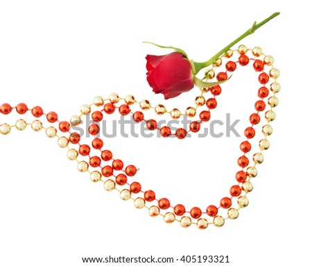 Red little rose, original two red and golden hearts of bright and brilliant beads. For valentine, greeting card. Isolated on the white background - stock photo