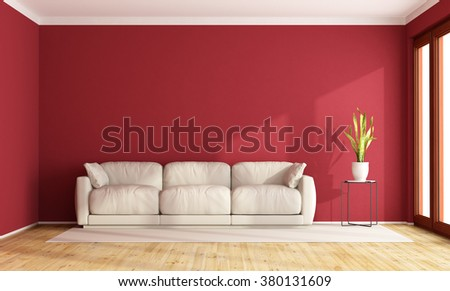 Red living room with contemporary  white sofa -3D Rendering - stock photo