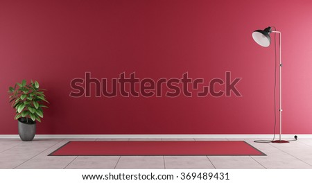 Red living room without furniture - 3D Rendering - stock photo