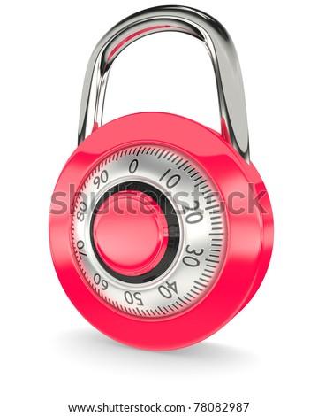 Red lock - stock photo