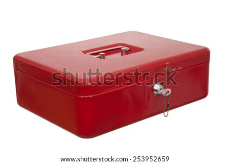 red locked casket on white background