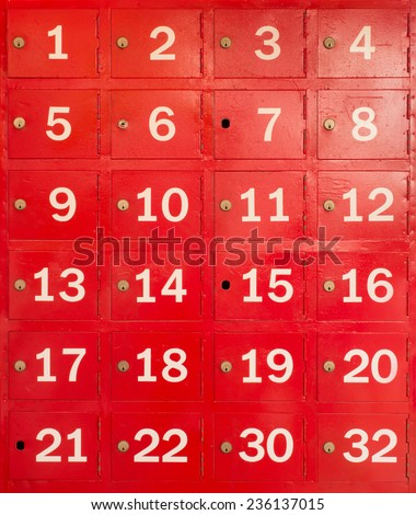 red locker with number in front of box
