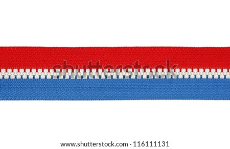 Red locks zipper isolated on a white background - stock photo