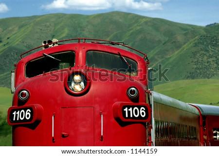 red locomotive - stock photo