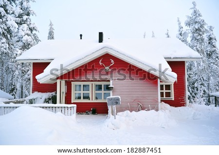 red log cabin in the woods - stock photo