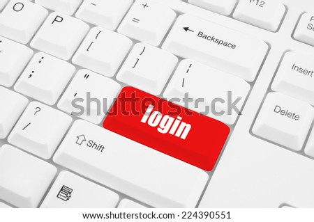 Red login button on keyboard  - stock photo