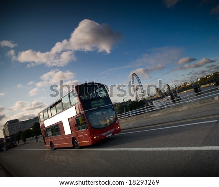 red london bus near houses of parliament - stock photo