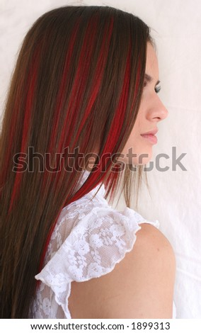 red long hair - stock photo