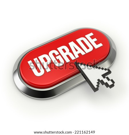 Red Long Upgrade Button With Chrome Border On White Background - stock photo